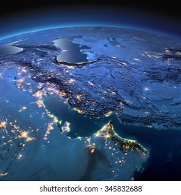 Night planet Earth with precise detailed relief and city lights illuminated by moonlight. Persian Gulf. Elements of this image furnished by NASA