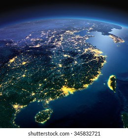 Night planet Earth with precise detailed relief and city lights illuminated by moonlight. Eastern China and Taiwan. Elements of this image furnished by NASA