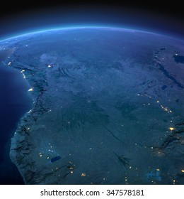 Night planet Earth with precise detailed relief and city lights illuminated by moonlight. Southern Africa Angola and Congo. Elements of this image furnished by NASA