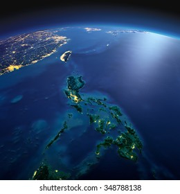 Night planet Earth with precise detailed relief and city lights illuminated by moonlight. Southeast Asia. Pacific between Indonesia and Taiwan. Philippines. Elements of this image furnished by NASA