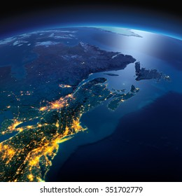 Night planet Earth with precise detailed relief and city lights illuminated by moonlight. Detailed Earth. Northeast US and Eastern Canada. Elements of this image furnished by NASA