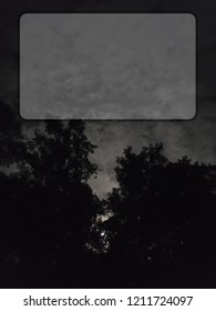 Night poster with clouds and trees with copy space