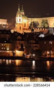 Night Prague St. Nicholas' Cathedral, Czech Republic