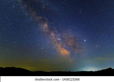night prairie under a starry sky with milky way
