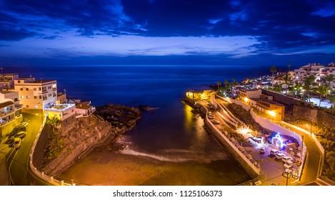 Night at Puerto Santiago embankment. Tenerife islans, Canarias, Spain