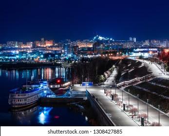 Night quay of the city of Krasnoyarsk 2019 winter.