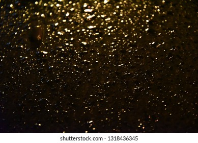 Night rain drops on the car