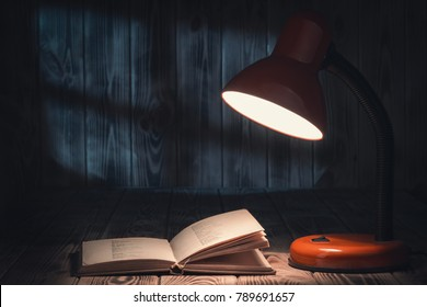 Night reading with lamp