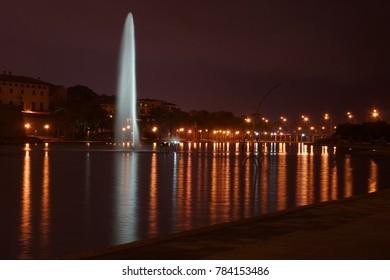 Night reflections at lake