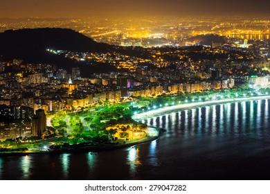 Night in Rio de Janeiro aerial view