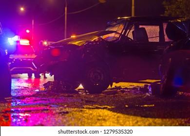Night road car accident. Car crash in police flashligh