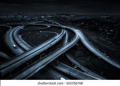 Night road. Highway. Road junction.