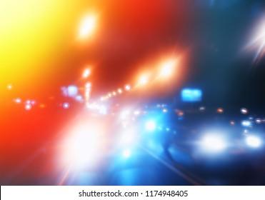 Night road traffic bokeh background