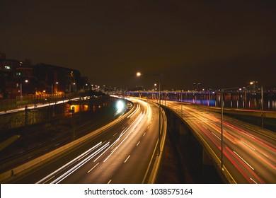 night road view  seoul  korea