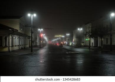 Night road at Vladimir city