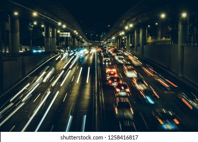 Night roads and cars, Mexico City