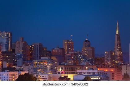 Night San Francisco panorama skyline view