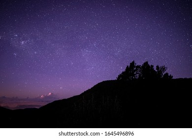 Night in San Gerardo de Dota, Costa Rica, starry sky and milky way, before dawn. Los Quetzales National Park