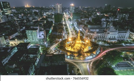 Night scape Sule Pagoda centre of city in Yangon, Myanmar,Night Scape Sule Pagoda Center of city in Yangon, Myanmar,downtown,Sule,Pagoda,Myanmar,city,night,lights,modern,road,Cityscape,Landscap