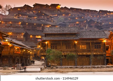 Night scence of ancient wind-rain bridge in Xijiang Hmong village