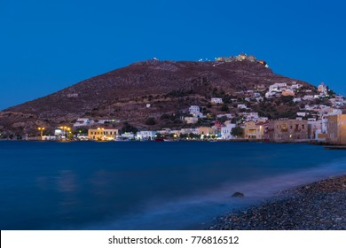 Night scene in Agia Marina village, Leros island, Dodecanese, Greece