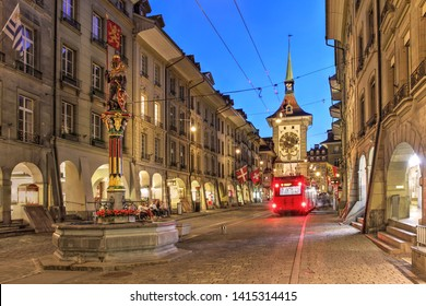 Night scene along Kramgasse in the old town of Bern (Berne, Berna), Switzerland featuring the Zytglogge Clock Tower.