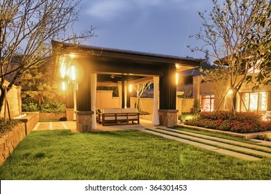 night scene of backyard of modern villa