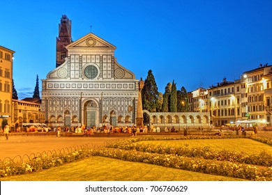 Night scene with Basilica of Santa Maria Novella in Florence, Italy
