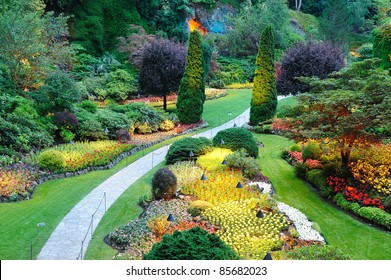 night scene of beautiful garden at butchart gardens, victoria, british columbia, canada