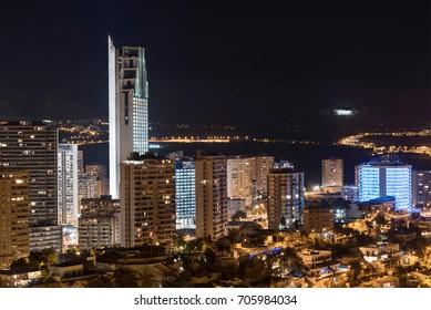 Night scene of Benidorm cityscape, Valencia, Spain.
