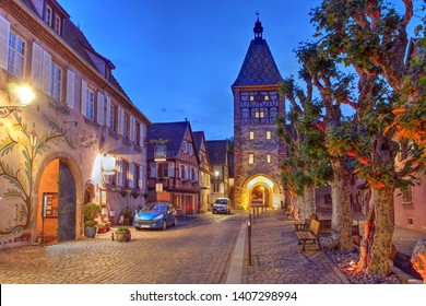 Night scene in Bergheim, a well preserved medieval town in Alsace, France