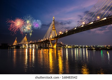 Night Scene Bhumibol Bridge with fireworks, Bangkok, Thailand