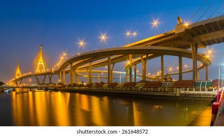 night scene of Bhumibol industrial suspension bridge