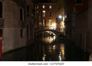 Night scene of bridge and  canal in Venice, Italy
