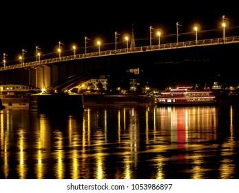 Night scene with bridge over Rhein river, Bonn, Germany