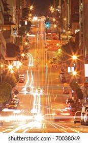 Night Scene of California Street in San Francisco