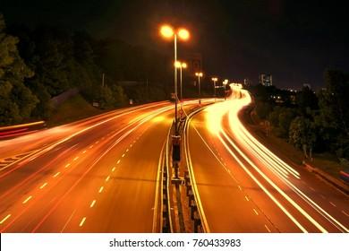 Night scene with car light trail