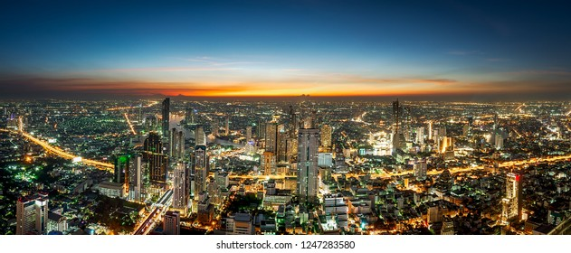 Night scene cityscape at Chaopraya river in Bangkok metropolis Thailand