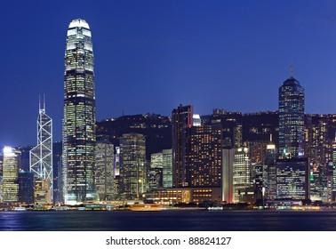 Night scene of cityscape in Hong Kong