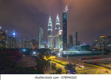 Night scene with cloudy sky at Kuala Lumpur City Skyline
