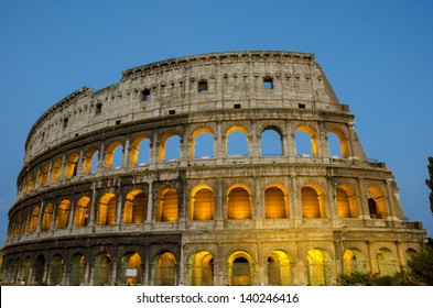 Night scene of Colosseum in Rome, one of the seven wonders of the world.