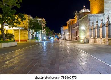 Night scene downtown Aguascalientes, Mexico