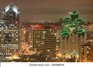 Night scene of Downtown San Diego California