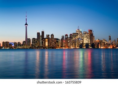 Night scene of downtown Toronto during early winter time