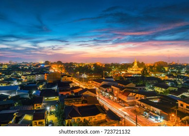 The night scene of downtown Vientiane, Laos, with beautiful light.