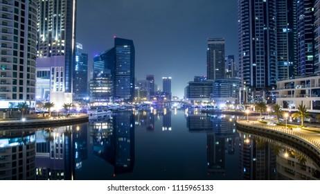 Night scene in the Dubai, Marina Dubai.