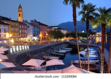 Night scene of famous resort of Ascona on Lake Maggiore in the canton of Ticino, Switzerland.