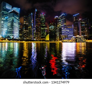 Night scene of financial district Marina Bay in Singapore.
