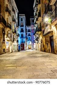 night scene in gothic quarter, Barcelona, Spain