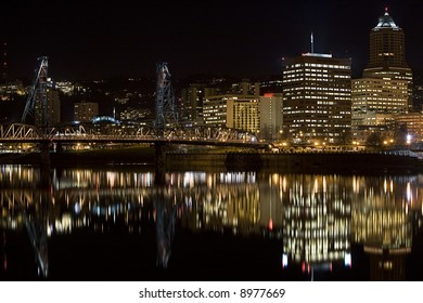 Night scene of Hawthorne Bridge and Downtown Portland Oregon